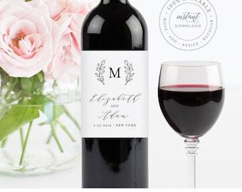 Wine Bottle Label Template, Printable Wedding Wine Label, INSTANT DOWNLOAD, 100% Editable, Custom Monogram Label, Personalized #037-104WL