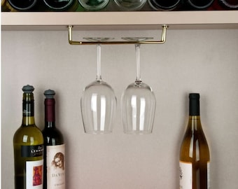 "Steel Wine Glass Holder - 10"" Wine Glass Rack - Stemware Holder -Under Cabinet - Under Shelf"