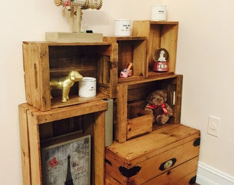 Wooden Crate Rustic Storage | Rustic Home Decor • Farmhouse Decor • Reclaimed Pallet Wood • Shelving • Side Table (Set of 6, Light)