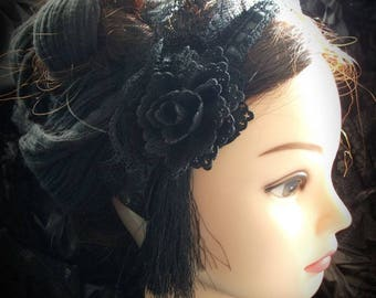 Black gothic headband, black lace, black rose, russian headband, black headband, gothic headband, gothic headdress, black roses