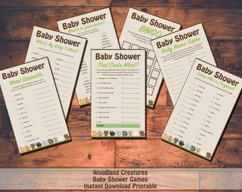 Printable Woodland Creatures Baby Shower Game Package