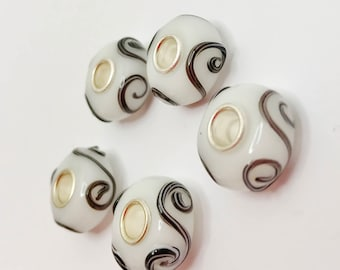 White Black Swirl European Charm White Black Bead Large Hole Bead Lampwork Glass Bead Make Your Own Jewelry Making LynnsGemSupplies
