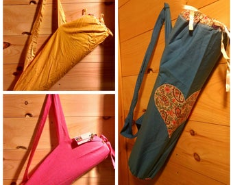 Yoga Mat Bag ~ Yoga Bag ~ Repurposed Yoga Bag ~ Key Holder ~ Glow in the Dark ~ Vermont ~ Bees ~ Hearts ~ Over the Shoulder Bag ~ Blue Bag