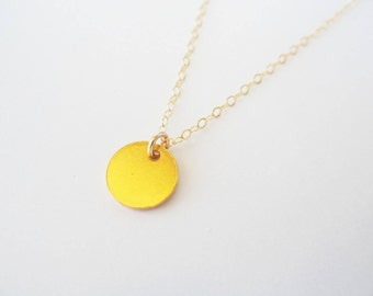 Personalised coin necklace Gold dot necklace Initial necklace, personalised necklace Hand stamped necklace Gold filled necklace Handstamped