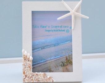 Coastal Decor, Beach Wedding Gift, Beach Picture Frame, Seashell Frames, Nautical Picture Frame, Beach Decor, Beach Wedding, Nautical Decor