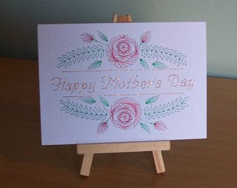Hand Stitched Mothers Day Card