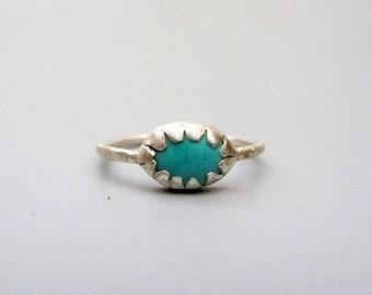 Turquoise Sterling Silver Tribal Ring, handmade sterling bezel ring - size 9