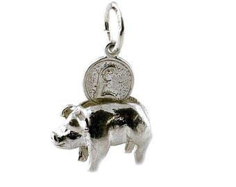 Sterling Silver Movable Piggy Bank Charm For Bracelets