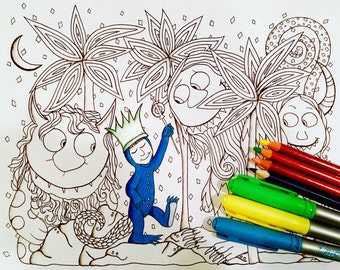 Where the Wild Things Are Inspired Coloring Page Kids Activity Instant Download