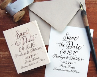 Save the Date Stamp #4 - Calligraphy - Personalized