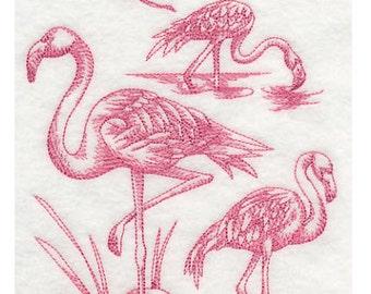 Custom Embroidered Flamingo Sweatshirt S-3XL