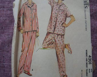 vintage 1950s McCalls sewing pattern 4201 misses pajamas size 16