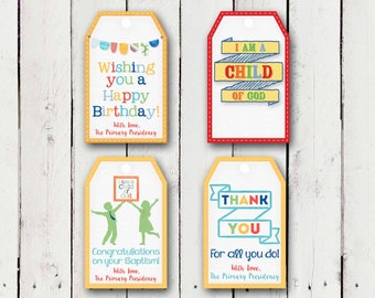 "4 different gift tags in the 2018 Primary Theme ""I am a Child of God"""