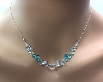 Aquamarine , Apatite And Rainbow Moonstone Necklace in Sterling Silver
