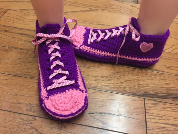 Womens Crocheted heart purple purple shoe crocheted 9 shoes sneakers house heart tennis 349 sneakers slippers 7 slippers sneaker slippers Zp8Zqr