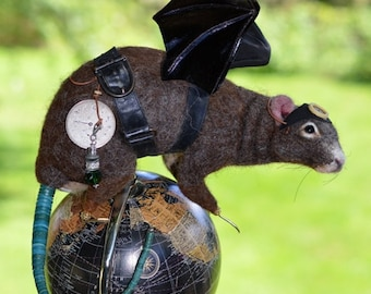 "Steampunk  ""Rats Rule"" Brown River Rat Life Size OOAK Artist Needle felt Sculpture by Stevi T.    Free Shipping"