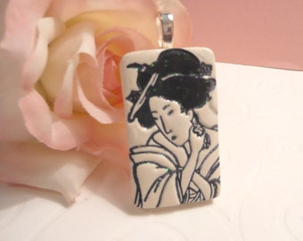 Geisha Face Pendant, Optional Necklace, Japanese Woman, Oriental Jewelry, Black and White Jewelry, handmade polymer clay
