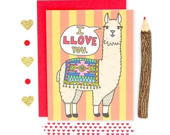 Llama Greeting Card, Llama Love Card, Alpaca, Boyfriend Card, Llama Gift, Fiance Card, Animal Puns, Anniversary Card, I Love You Card, Cute