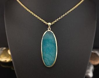 Oval Blue Necklace, Gold Plated Agate Necklace, Blue Agate Slice, Gold Wrapped Necklace, Agate Pendant, Chunky Boho Necklace, Boho Style