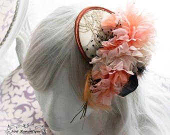 Neo-romantic flower fascinator in beige and rose colourings-Victorian fascinator-Fascinator-Bridal fascinator-flower headpiece
