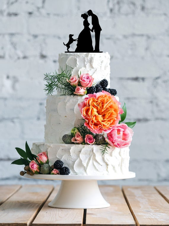 Wedding with dog cake topper- Silhouette wedding cake topper ...