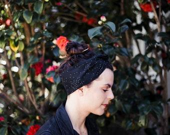 Black Dot Wire Headband - Cotton Pattern Fabric Scarf Turban Wrap - Handmade in California by Mane Message on Etsy