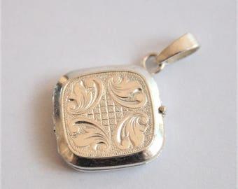 Vintage sterling silver locket. Square locket. Small silver locket.  Vintage jewellery