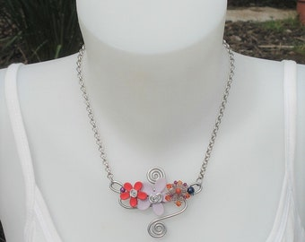 Necklace - necklace Orchid purple and Red