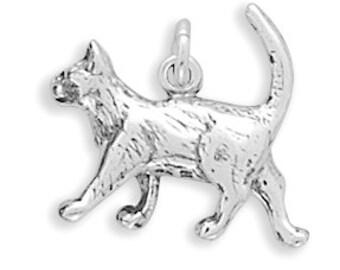 Sterling Silver Cat Charm Pendant 3D Walking Feline Kitty Kittie Pet Animal