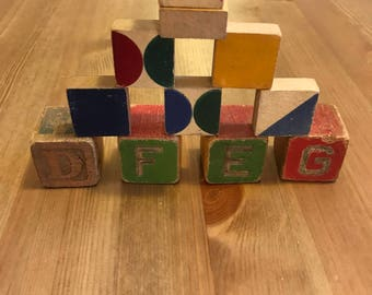 Lot of 11 Vintage Wooden Alphabet Blocks / Wooden Blocks