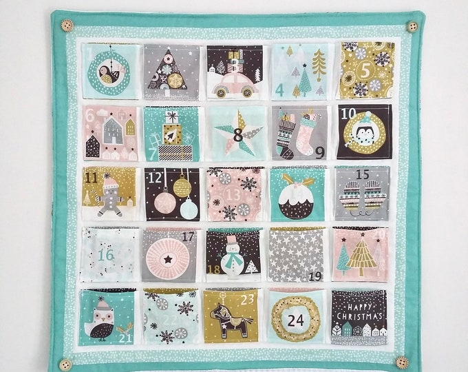 PERSONALISED Merry Little Minty Christmas quilted Advent Calendar