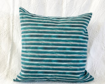 Turquoise Stripe Watercolour Pillow Cover 20x20 inches