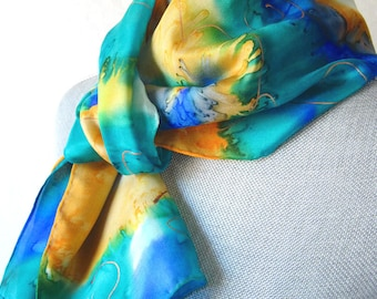 Hand Painted Silk Scarf in Yellow Spring Floral, Mother's Day Gift, Ready to Ship