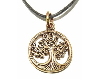 Small Mystical Golden Bronze Druid Tree of Life Pendant Necklace