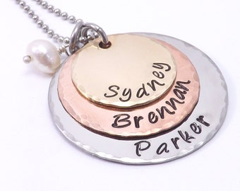Hand Stamped Mixed Metal Three Tier Necklace- Mothers Necklace, Grandmothers Necklace, Childrens Names