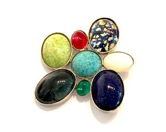 Modernist Art Glass Brooch, Mid Century, Multi Color Jewel Tones, Multi Shape, Silver Tone, Abstract Design, 1970s, Vintage Gift For Her