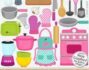 Clip Art Cute Kitchen - Cooking Clipart - Personal and commercial use