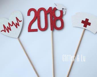 3PC Nurse Graduation Centerpiece 2018, Nurse Graduation Party, Graduation Centerpiece Sticks, Medical Graduation