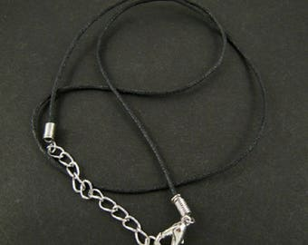 5 supports lanyard necklaces ~ 45cm black ~1.5 - 2mm chain with lobster clasp waxed cotton