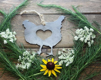 Chicken Love Rustic Christmas Ornament Metal Hen Heart Christmas Tree Decoration Holiday Gift Industrial Decor Wedding By BE Creations