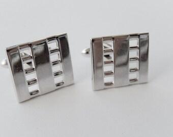 Silver Geometric Cufflinks, Men's Vintage Accessories, Square Shape
