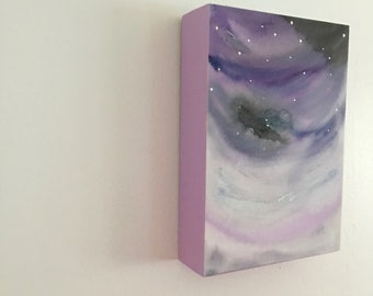 Night skies watercolor in purples and gray