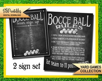 BOCCE BALL sign up and rules sign set in chalkboard design-yard games - instant download printable file - bocce ball game - wedding games