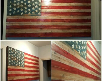 Aged/Distressed Wooden American Flag