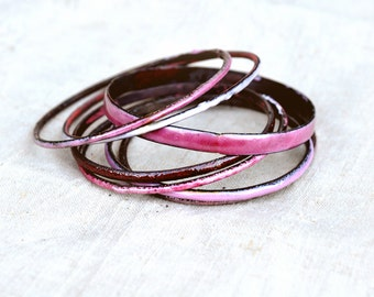 Candy Pink Bangle Set - Handcrafted Enamel Bracelets