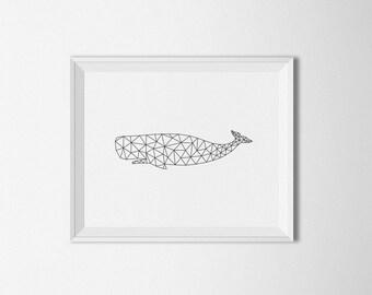 Geometric Whale Art, Origami whale print, Digital, simple Home decor, Black and white, Geometric wall art, Printable Art, whale wall art