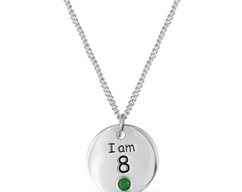 8th Birthday Gift, Sterling Silver I am 8 Necklace, 8th Birthday Necklace, Personalized Birthstone Charm, Children Jewelry Gift Ideas