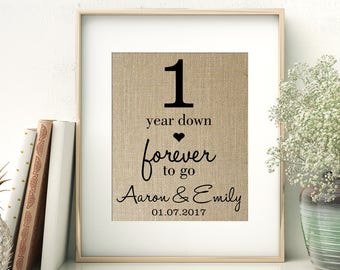 1 Year Down - Forever to Go | 1st First Wedding Anniversary Personalized Burlap Print | Gift for Wife Husband | Personalize for ANY Year