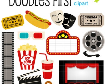 Movie Night Digital Clip Art for Scrapbooking Card Making Cupcake Toppers Paper Crafts