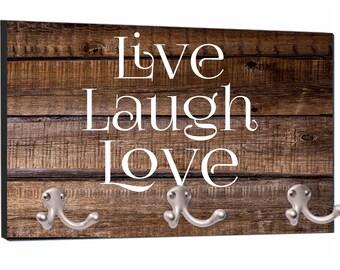 "Live Laugh Love on Wood Print - 8"" by 16"" Mountable Coat Hanger Rack"